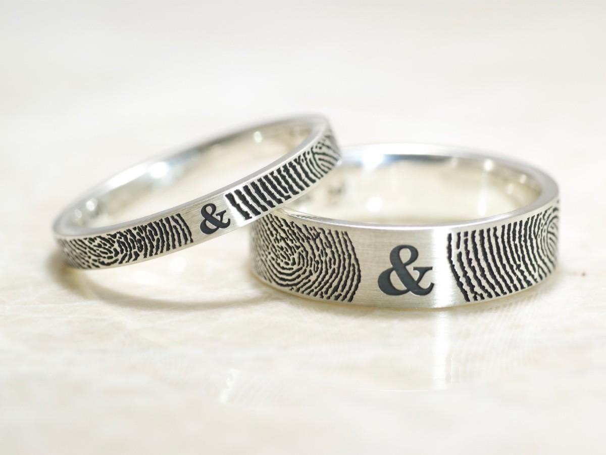 Set of You and Me Forever Comfort Fit Fingerprint Wedding Bands in Sterling  Silver