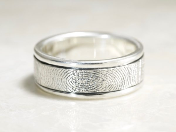 Handcarved Rims Fingerprint ring by Brent&Jess
