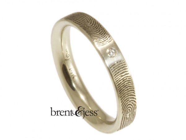 14k White Gold You and Me Sparkling Diamond Fingerprint Ring