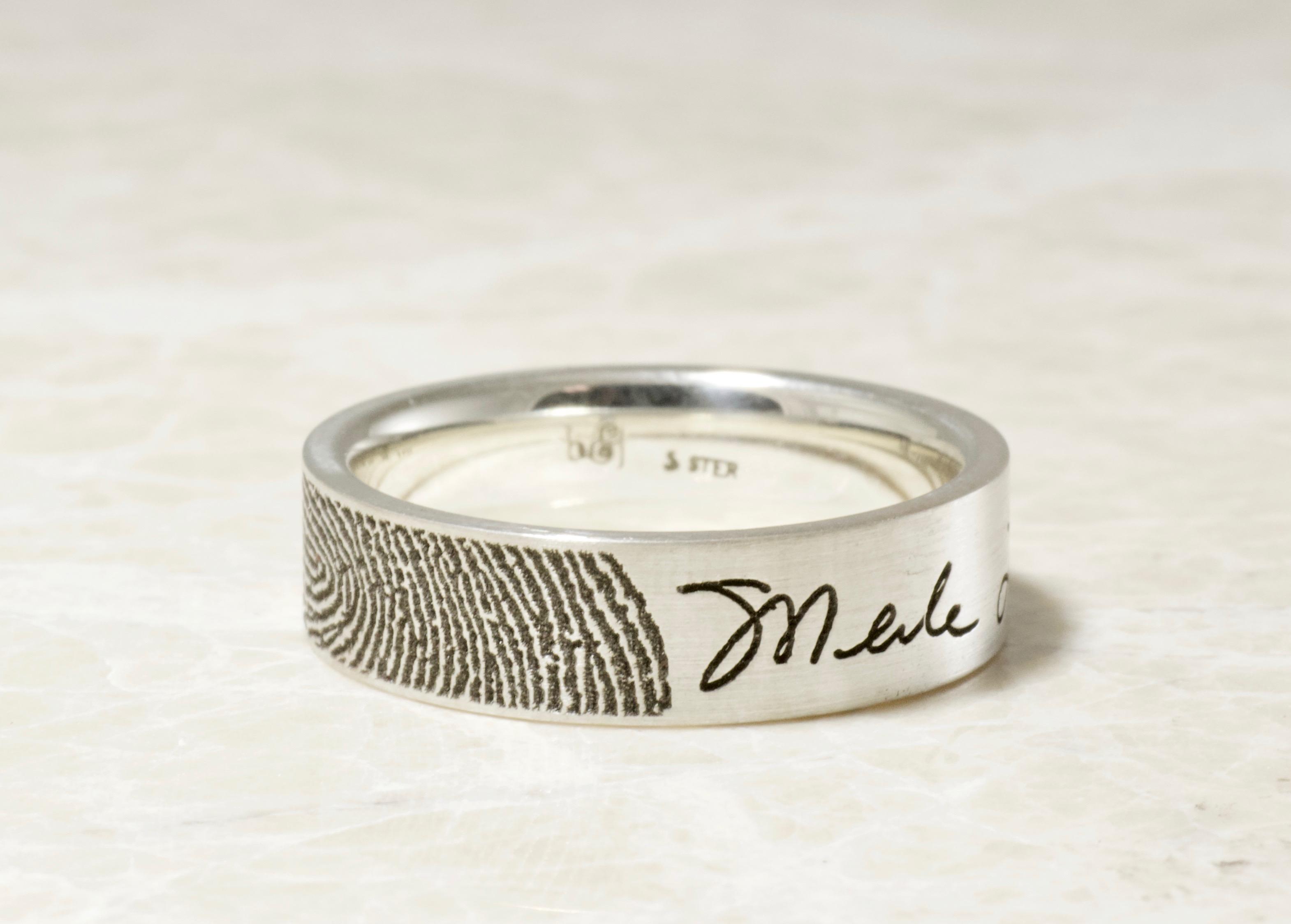 Custom Memorial fingerprint and signature ring by Brent&Jess 6mm comfort fit flat
