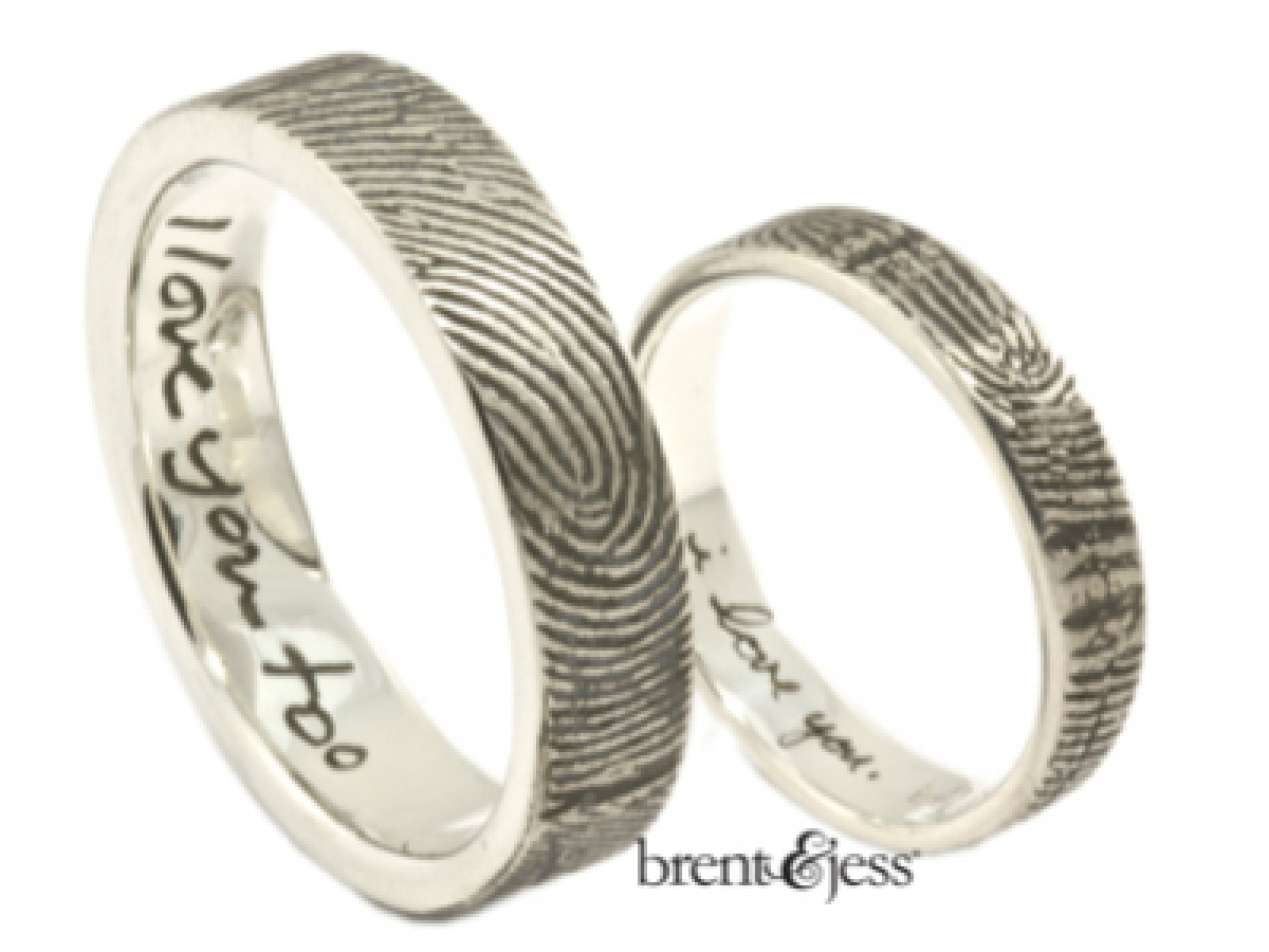 bcaa5c8ee4406 Set of Love Note Fingerprint Wedding Rings with Exterior Wrapped Prints in  Sterling Silver