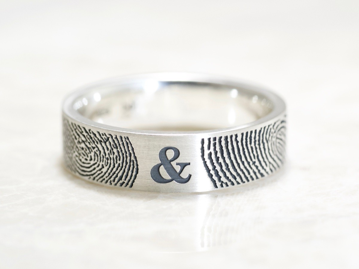 You And Me Forever Fingerprint Wedding Ring In Sterling Silver