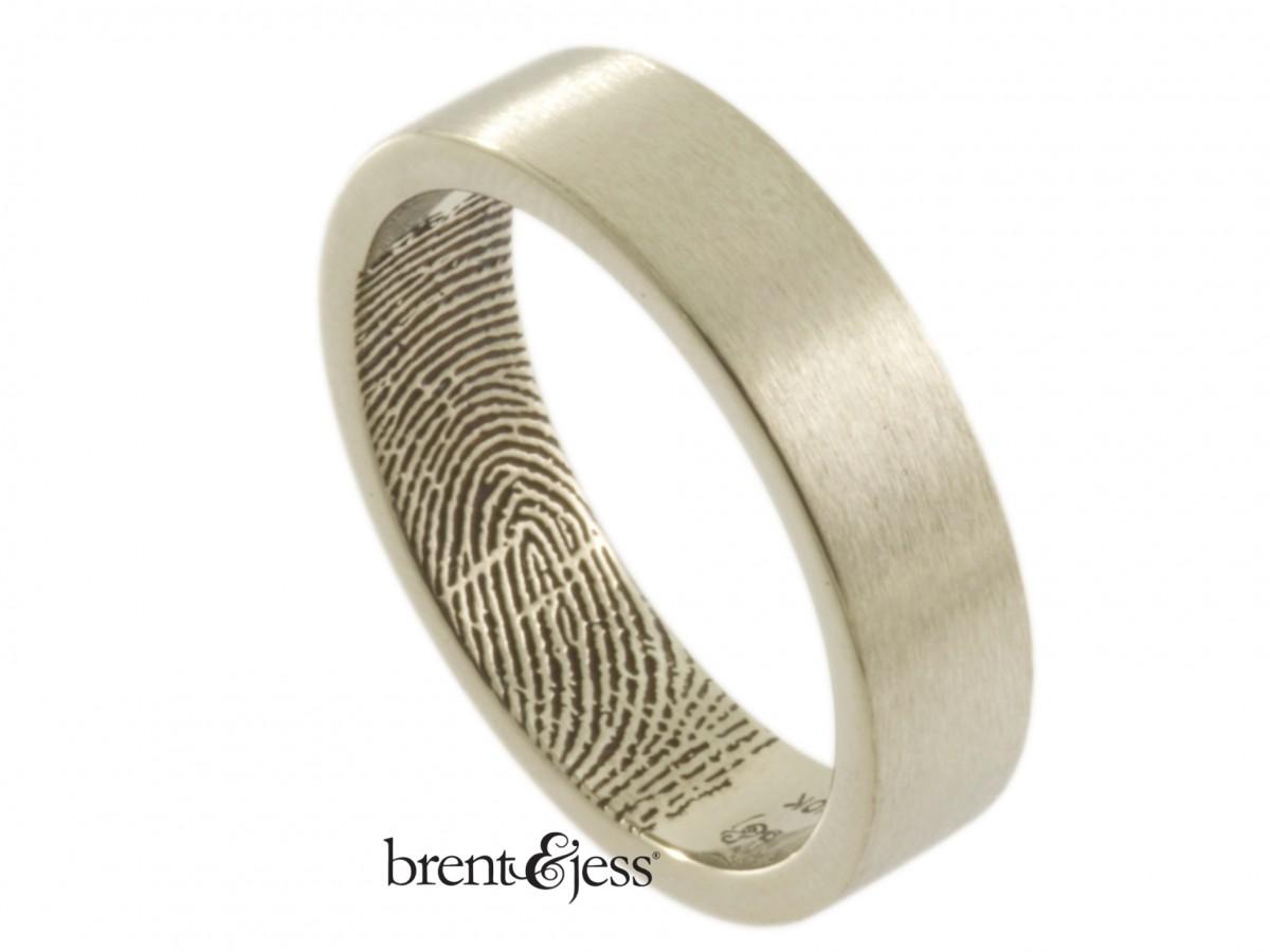 6mm 10k white wedding Band with interior fingerprint handmade by Brent&Jess