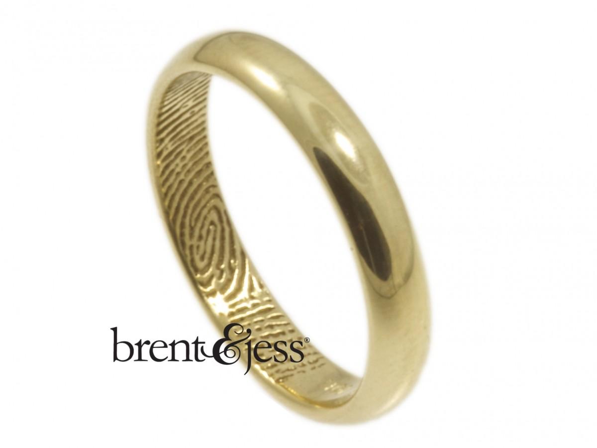 10k yellow high polish 3mm half round fingerprint wedding band by Brent&Jess