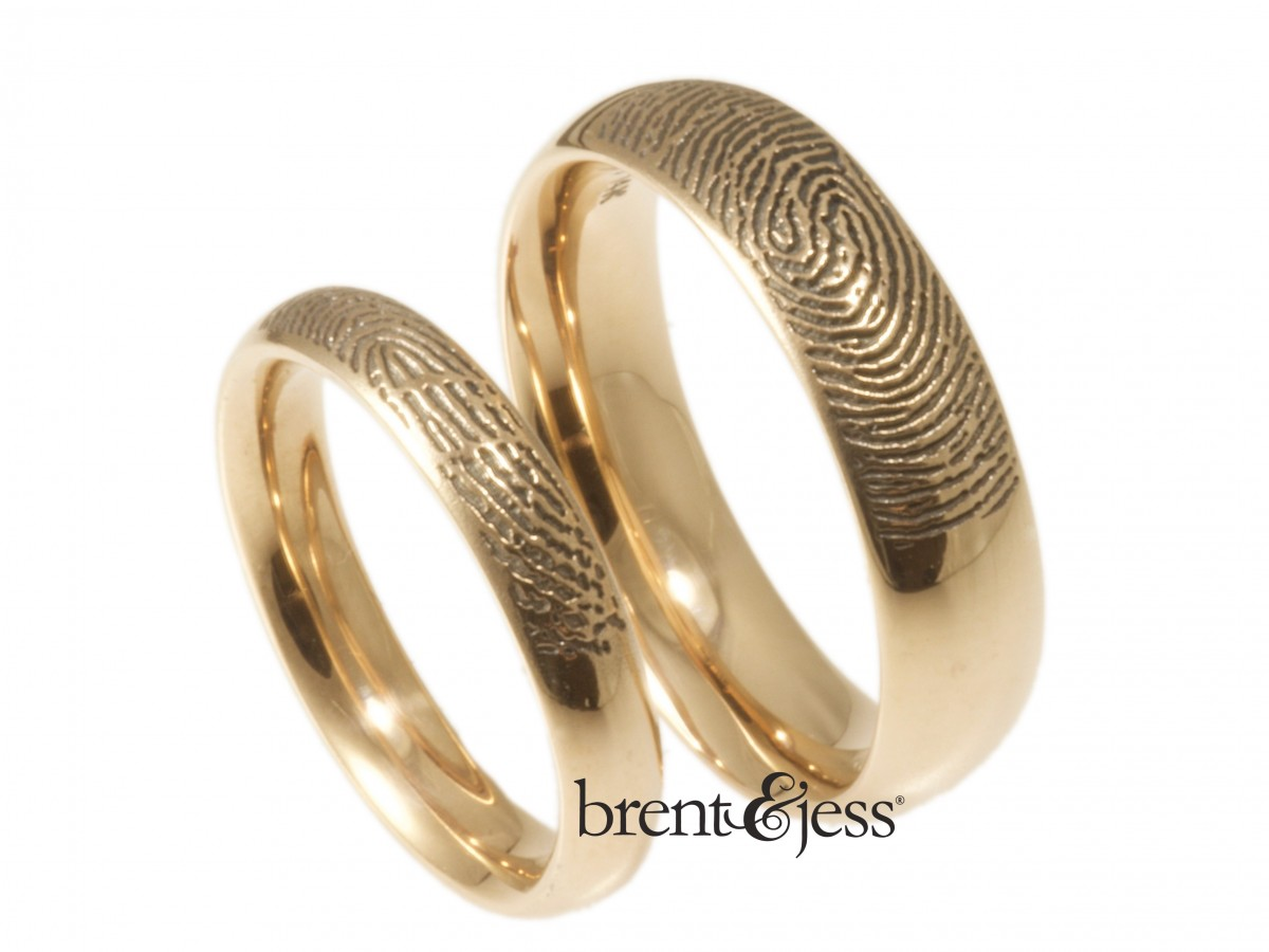14k rose gold comfort fit low dome fingerprint wedding rings by Brent&Jess