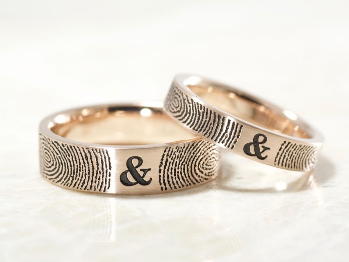 14k rose gold fingerprint rings by Brent&jess