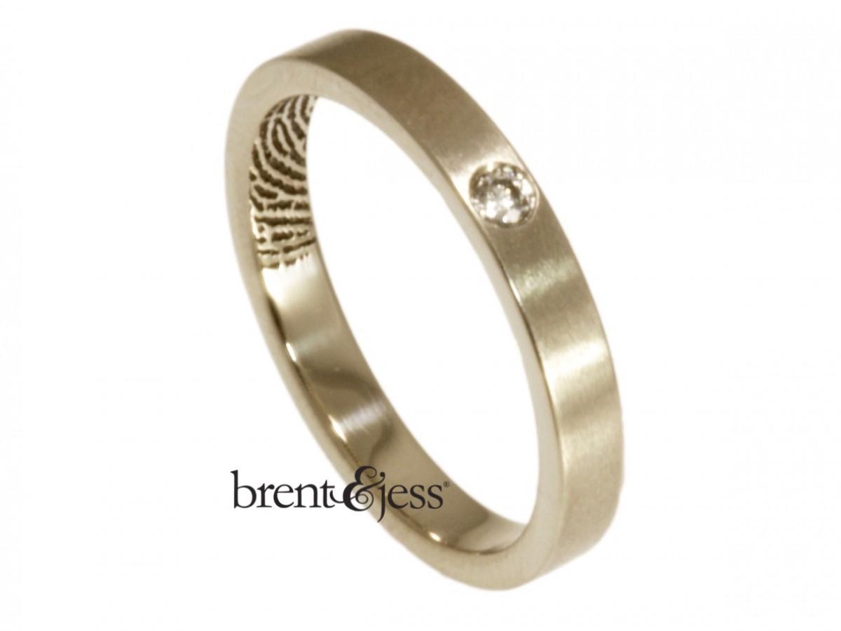 18k white Single diamond fingerprint commitment band by Brent&Jess