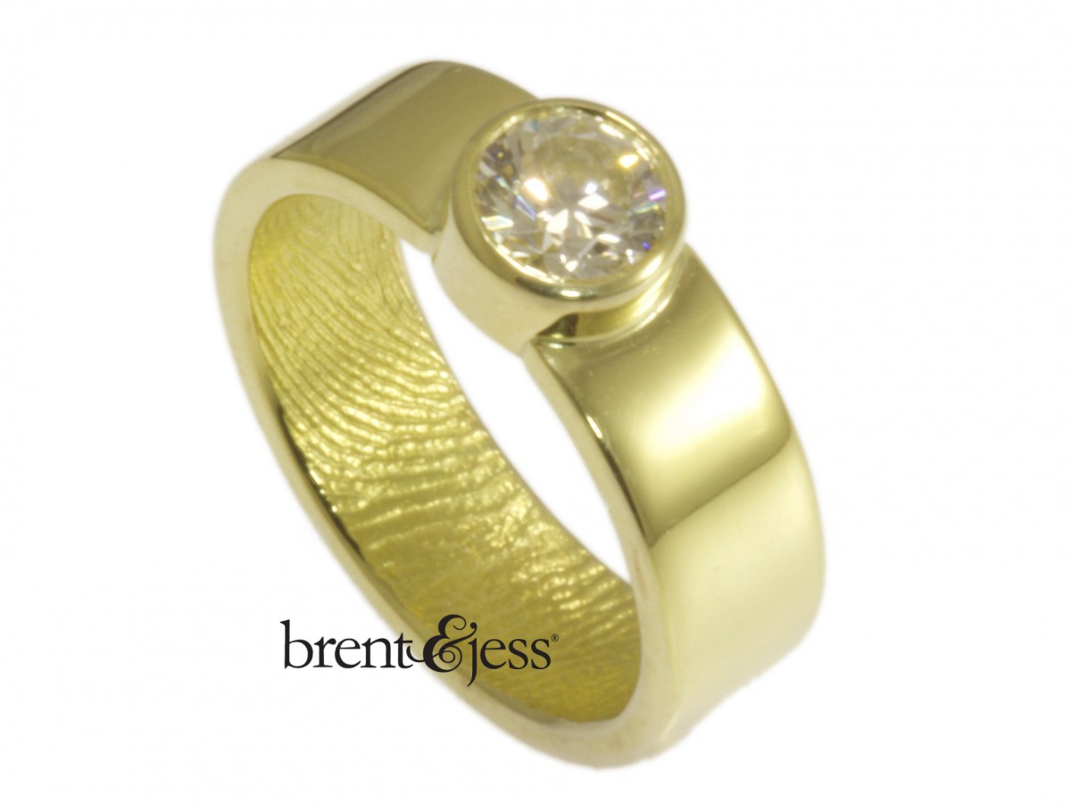 18k yellow gold diamond engagement ring handmade by Brent&Jess
