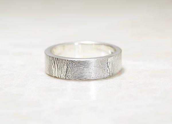 6mm Sterling Silver Fingerprint Wedding Band with Exterior Fingerprint Wrap