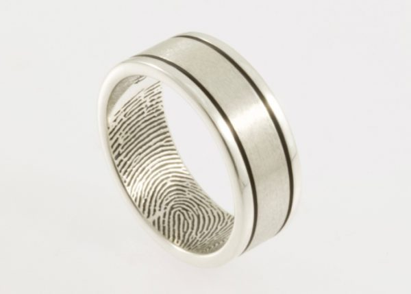 Modern Lines Fingerprint Wedding Ring in Sterling Silver - 8mm