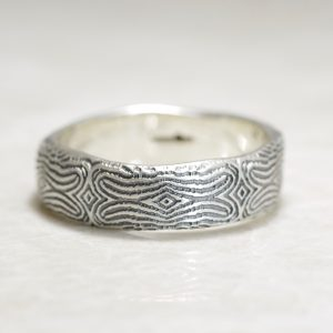 Darkened Reflection of You Organic Mosaic Fingerprint Wedding Band