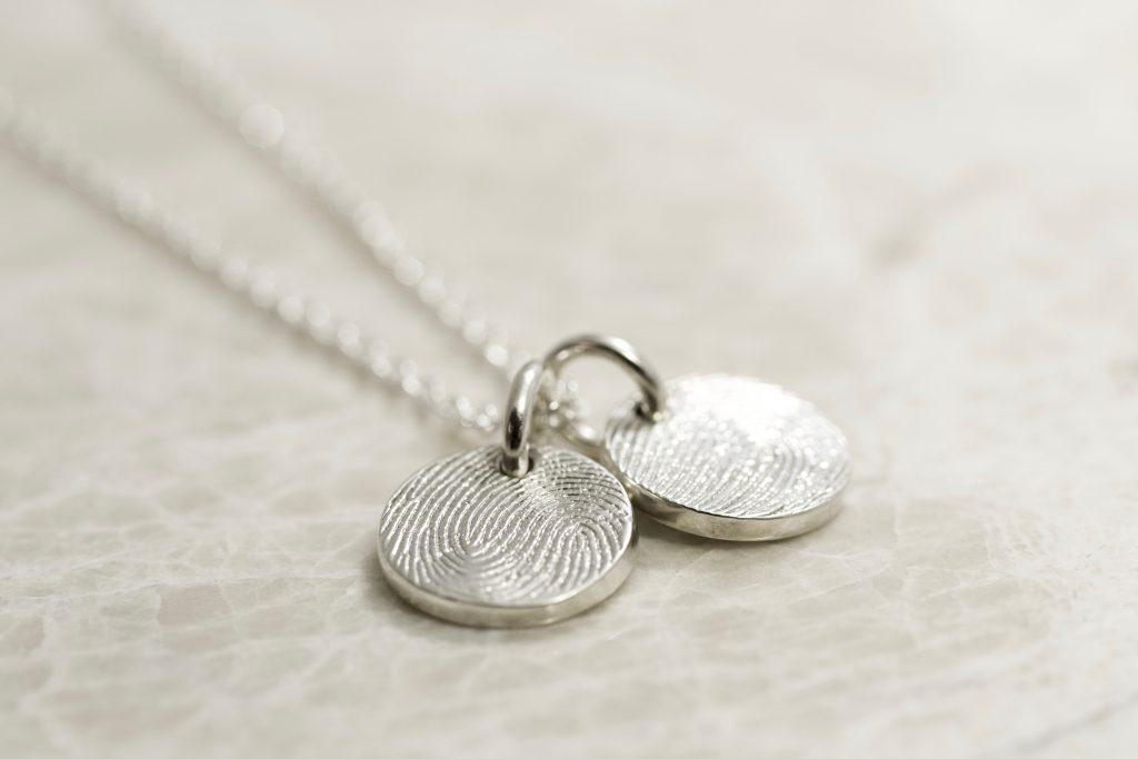 2dea752dcaff0 Sterling Silver 2 Charm Custom Family Fingerprint Charms Necklace -  Brent&Jess Fingerprint jewelry