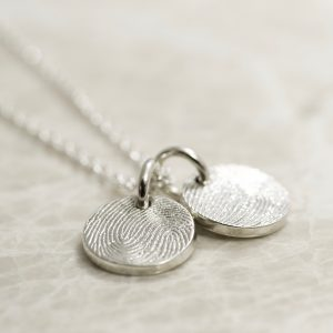 Sterling Silver 2 Charm Custom Family Fingerprint Charms Necklace