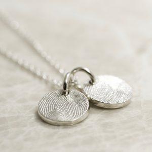 Sterling Silver 2 Charm Custom Family Fingerprint Charms Necklace