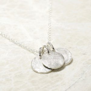 Sterling Silver Custom Family Fingerprint Charms Necklace