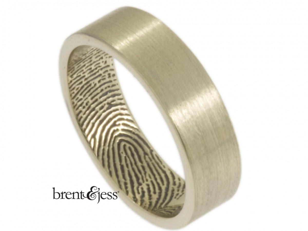 14k white fingerprint ring by Brent&Jess handmade flat band