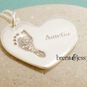 Custom Footprint and Engraved Name Necklace