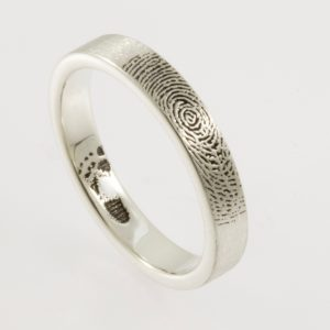 Handcrafted Mothers Ring Narrow Fingerprint Wedding Ring with Exterior TIP Print and Baby Foot in Sterling Silver