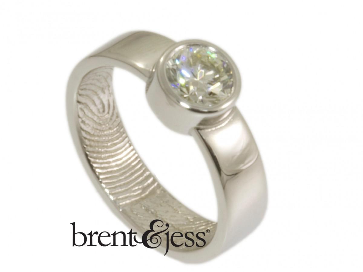 Platinum and diamond engagement ring 1 ct diamond 5mm band handmade By Brent&Jess