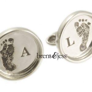 Custom Baby Feet Cufflinks in Sterling Silver