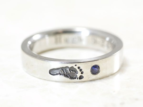 Baby footprint mother's ring