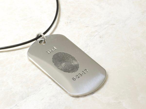 Memorial Fingerprint Dog Tag Necklace