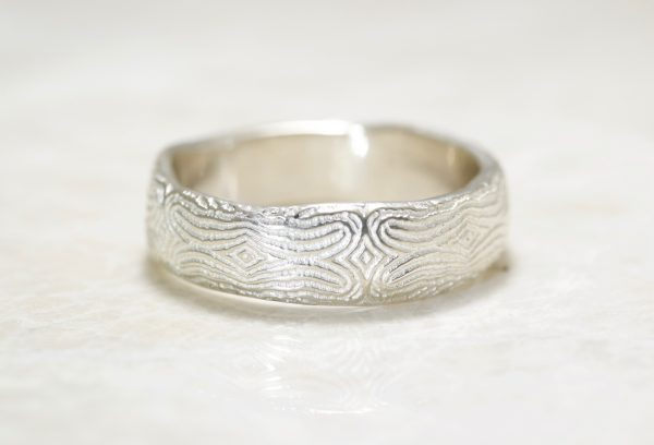 Reflection of You Organic Mosaic Fingerprint Wedding Band