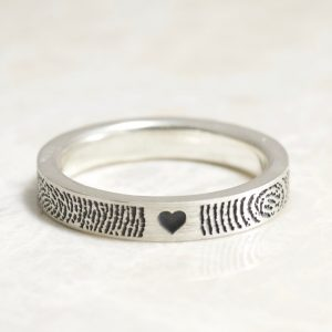 You and Me in Love Forever Narrow Fingerprint Wedding Ring in Sterling Silver