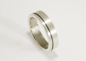 Offset Modern Line Fingerprint Wedding Ring with Interior Fingerprint Wrap