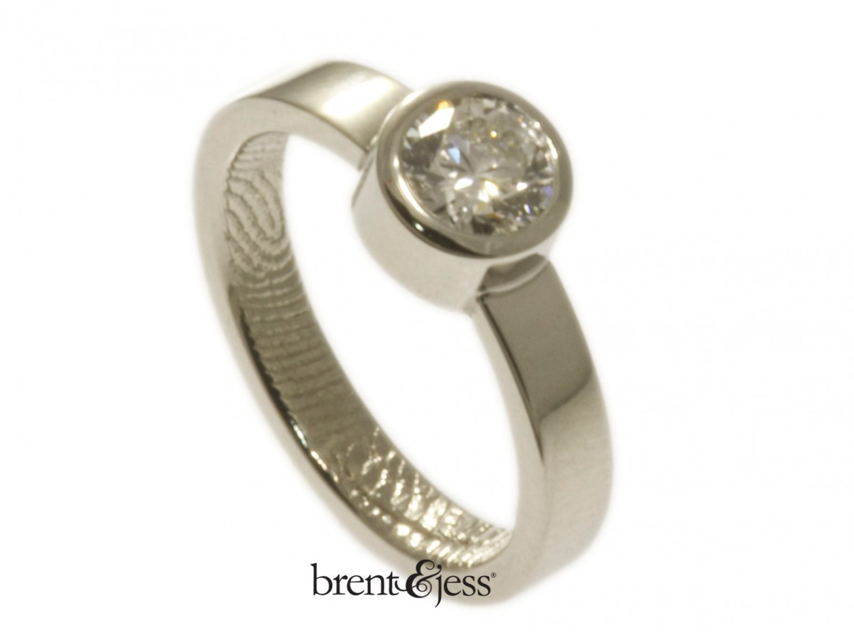Platinum engagement ring half carat 3mm band handmade by Brent&Jess