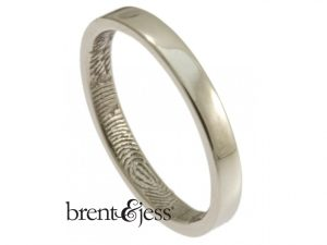 Custom Platinum Fingerprint ring with inside fingerprint handmade by Brent&Jess
