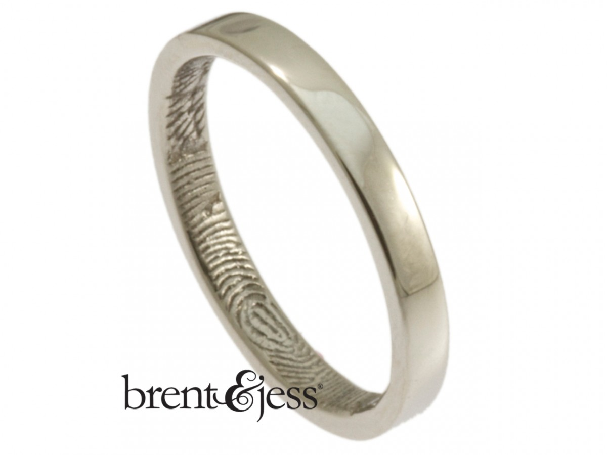 Custom Platinum Fingerprint ring with inside fingerprint handmade by Brent&Jess