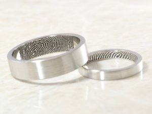 Custom Platinum Fingerprint ring set with inside fingerprints handmade by Brent&Jess