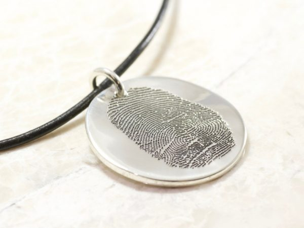 Round Memorial Sterling Silver Fingerprint Necklace