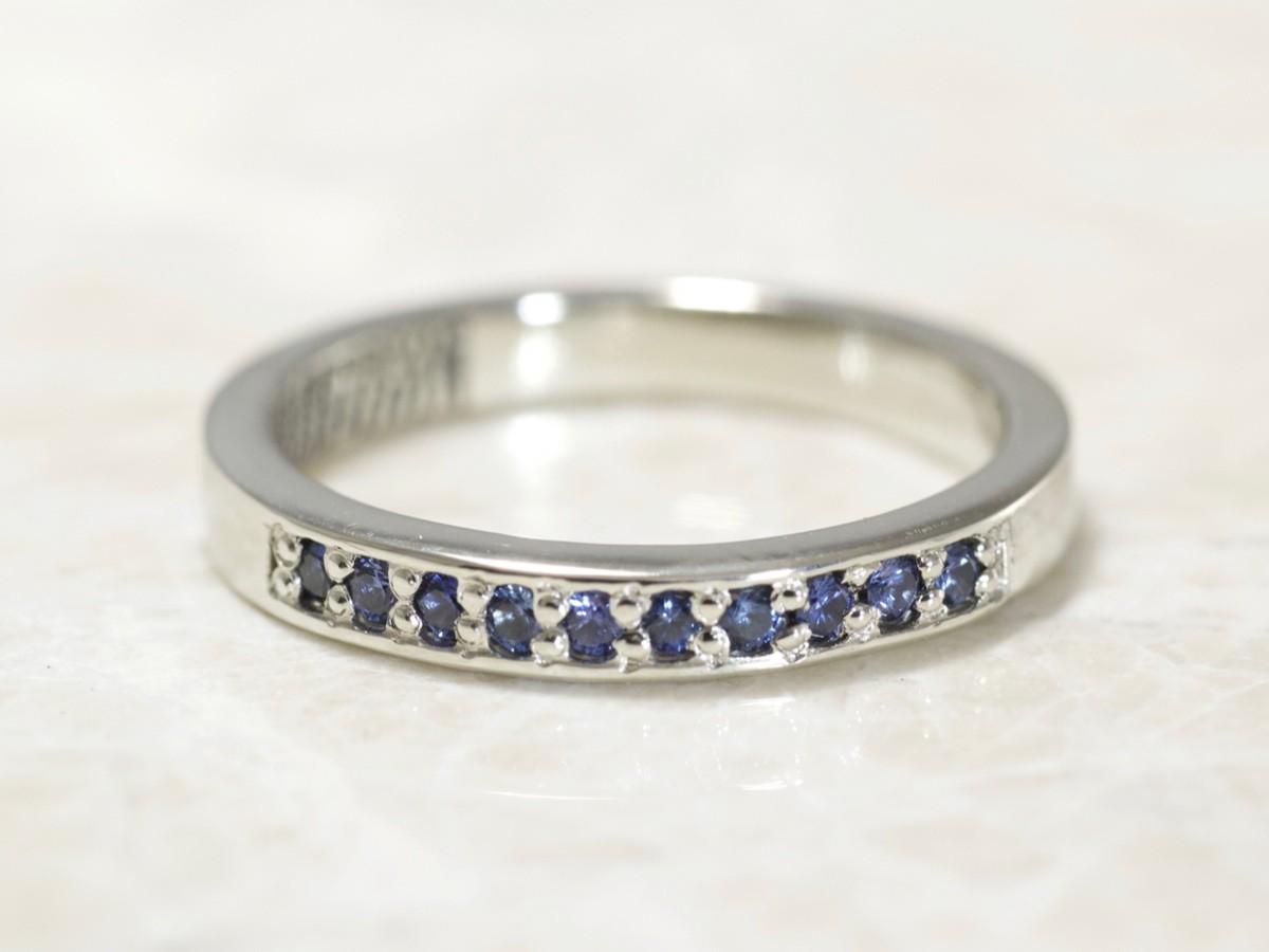 3mm Sapphire fingerprint ring by Brent&Jess in 14k white