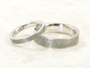 Custom 10k white Fingerprint ring set with exterior fingerprints handmade by Brent&Jess