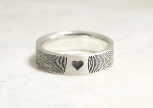 You and Me in Love Forever Fingerprint Wedding Ring in Sterling Silver