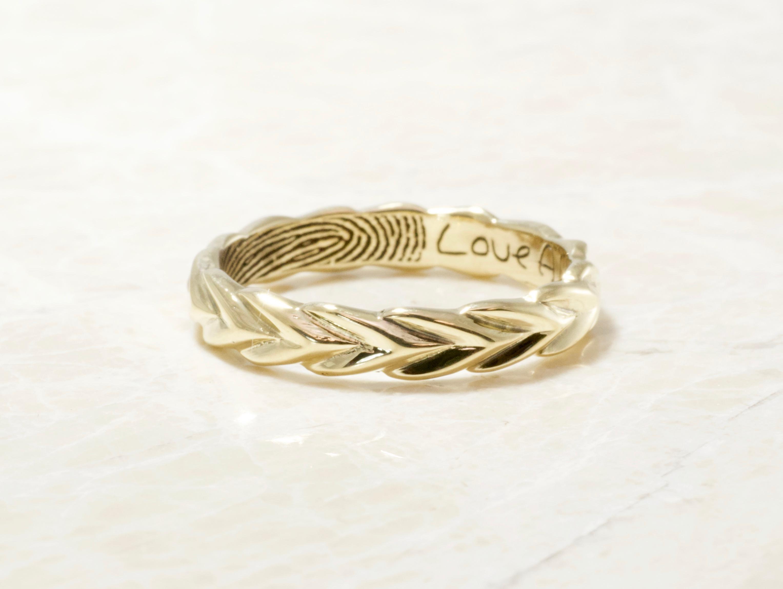 14k yellow olive branch fingerprint ring