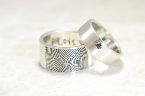 Custom 10mm band with handwriting and band with a offset black diamond by Brent&Jess
