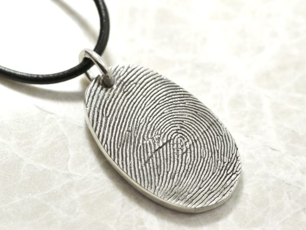 Sterling Silver Custom Thumbprint necklace or Fingerprint necklace by Brent&Jess