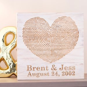 Custom You & Me Fingerprint Wall Art- White